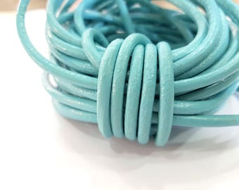Light Turquoise Leather Cord 1mt-3.3 ft (5mm) Round Leather Lacing G7601