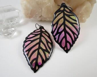 Sunset Iridescent & Transparant Leaf Earrings