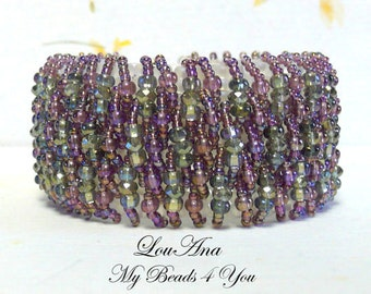 Beadwoven Cuff, Beaded Bracelet, Seed Bead Bracelet, Embellished Beaded Bracelet, Beadwork Bracelet, Crystal Bracelet, Beaded, MyBeads4You