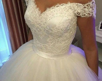 Free shipping ! Ball gown Wedding Dress, Custom Made and Measures , built in bra , corsetry system