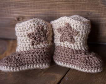 Crochet Baby Boy Cowboy Boots Only / Sizes Newborn - 12 Months **MADE TO ORDER**