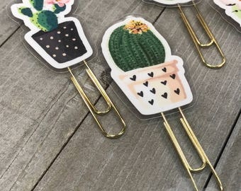 Cactus Planner Clips Set of 4 - Matches our Painted Cactus Sticker Kit