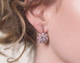 Rose Gold Earrings Wedding Jewelry Dangle Earrings Bridal Accessories Wedding Earrings Art Deco Earrings E142-RG