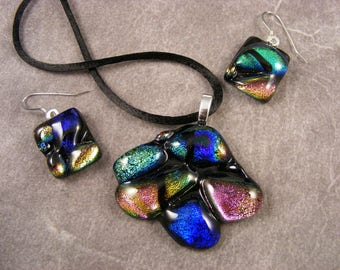 Dichroic Multi-Colored Textured Pendant & Earrings Set