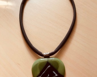 Funky Glass Pendant, Fused Glass Necklace, Green Earth Necklace