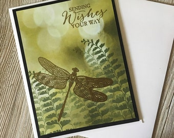 Sending Wishes your way - Friendship Dragonfly Cards / Handmade Greeting Cards - Stampin Up Greeting Cards - Personalized Greeting Cards