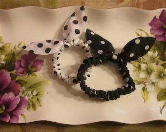 Adorable Bunny ears hair scrunchies Polka- Dots