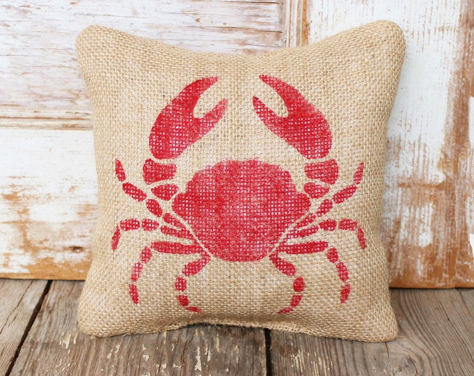 Crab -  Burlap Feed Sack Doorstop - Nautical Door Stop - Crab Decor - Crab Silhouette - Blue Crab - Red Crab
