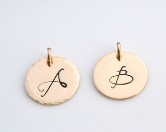 Add on Initial charms, Initial Charm, Personalized Initial, Gold Fill Charm, Gold Fill Initial (0121C)