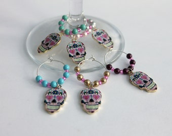Sugar Skull Wine Glass Charm Set Day Of The Dead Charms