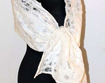Handmade Merino Wool Felted Cream Ecru Wedding Lace Scarf Wearable Art