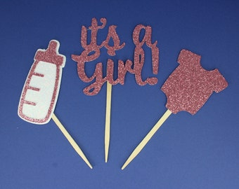 Set of 6, 24 or 48 It's a Girl, Baby Bottle and Onsie Cupcake Toppers