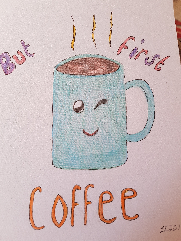 Kaffee-Tasse-Kunst Kaffee Tasse Abbildung aber erste