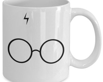 Harry Potter Glasses Coffee Mug (White) 11oz Harry Potter Gift Merchandise - Hogwarts Gryffindor Hufflepuff Ravenclaw Cup