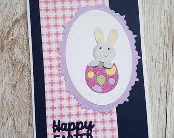 Handmade Easter bunny in an egg card