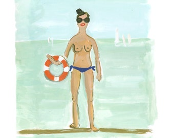 The Swimmer Painting Print