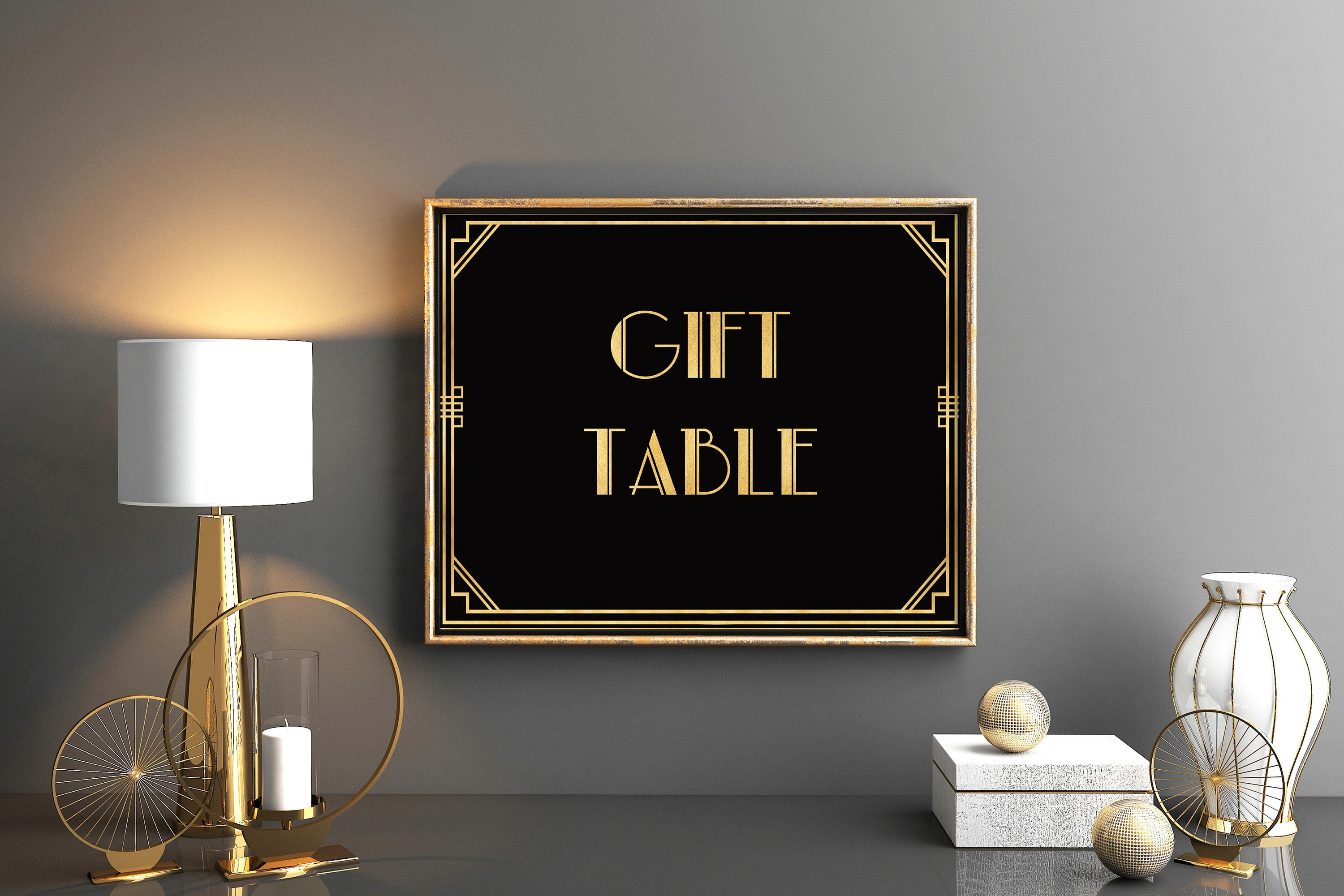 The great gatsby decoration gift table sign gold and black zoom jeuxipadfo Image collections