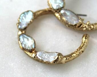 pearl earrings, pearl hoop earrings, pearl hoops, wedding jewelry, gold earrings, gold hoops