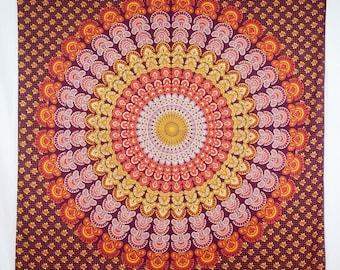 Depiction Tapestry Tapestry Tapestry Red Orange Peacock Mandala Indian boho hippie Gipsy