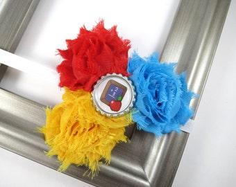Back To School Shabby Flower Headband - Blue Red and Yellow Headband - Headband - School Headband - 1st 2nd 3rd 4th 5th Grade Headband