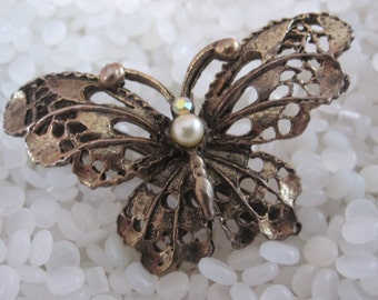 vintage barrette metal  butterfly with pearl features
