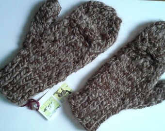 100 % APACA handspun - hand knit MITTENS, thick, soft, warm. Opening for fingers Natural color, beautiful tan brown. XLarge, XLong cuffs