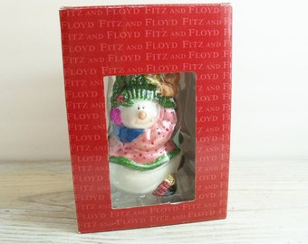 Vintage Fitz and Floyd Christmas Snowman Ornament 1980s