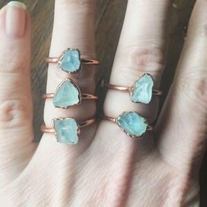 Raw Aquamarine Ring   March Birthstone   Aquamarine Jewelry   Raw Aquamarine   Electroformed Ring   Stone Ring   Crystal Ring  