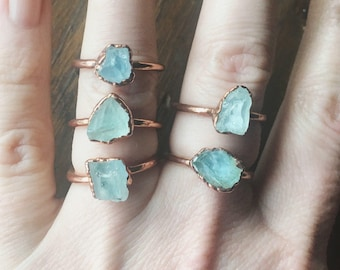 Raw Aquamarine Ring | March Birthstone | Aquamarine Jewelry | Raw Aquamarine | Electroformed Ring | Stone Ring | Crystal Ring |