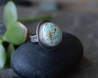 Timberline Turquoise Cocktail Ring in Sterling Sz 7