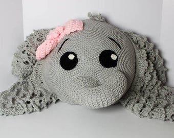 Elephant Pillow - Elephant Decor - Elephant Themed Nursery - Elephant Decorative Pillow - Crochet Elephant Throw Pillow - Elephant Baby Room