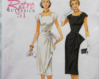 Butterick 5880. Retro 1951 sheath dress pattern. Sheath evening dress pattern. Wiggle dress pattern. Mother of bride or groom dress. Sz 6-14