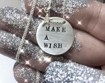 Make a wish and place it in your heart. Anything you want. Everything you want - sterling silver disc - pr personalized customized -SIMAG