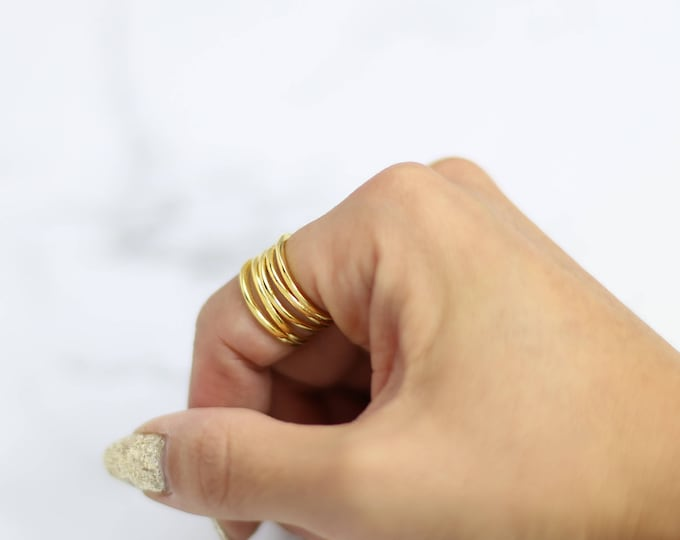 Eternity spiral ring - Stack wrapped rings / Stacking wrap ring in Gold and silver Gifts for her