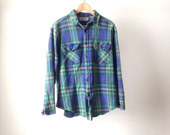 90s nirvana GRUNGE plaid FLANNEL oversized shirt blue and green