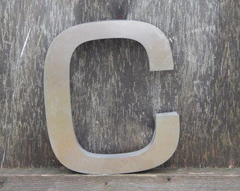 Vintage Industrial Metal Letter C Wall Decor