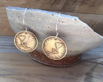 Brass Circle Tulip Earrings