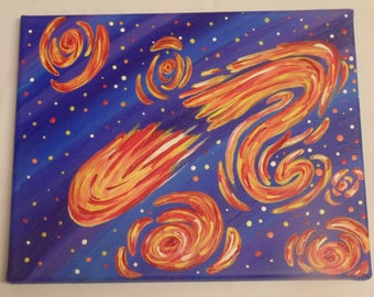 Original Outer Space Painting with Stars and Comet, Starry Night Inspired, Meteor, Space Painting, Ready to Hang, One of a Kind, OOAK