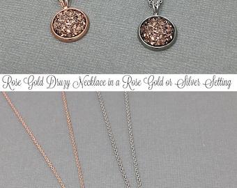 Rose Gold Necklace, Druzy Necklace, Gemstone Necklace, Druzy Jewelry, Silver Druzy, Daughter Gift, Druzy Pendant, Rose Gold Druzy, Crystal