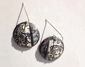Greatest Adventure Parisian Party, Handmade Black and White Round Polymer Clay Batik Earrings