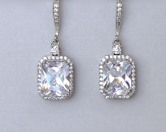 Square Crystal Earrings, Bridal Crystal Earrings, Bridal Chandelier Earrings, Emerald Cut Earrings, EMILIA C