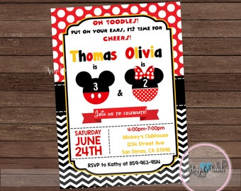Mickey Mouse Sailor Party Invitation Mickey Mouse Birthday