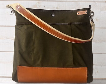 BEST SELLER Diaper bag,Messenger bag Green Stockholm with Leather strap,Ikabags Featured on The Martha Stewart F1