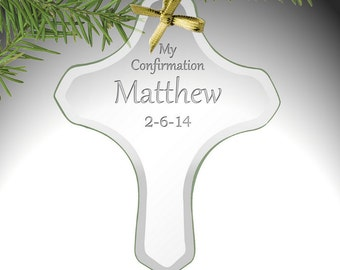 Customized My Confirmation Glass Cross Ornament