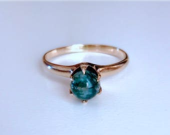 Antique Edwardian green Moss agate and 10k rose gold engagemet ring