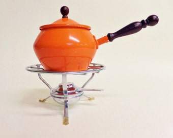 Retro Orange Fondue Pot with Stand and Burner - 1970s Party - Mid Century Dolphin Brand
