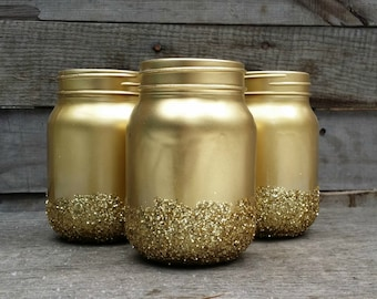 Gold Glitter Mason Jars, Shabby Chic Painted Mason Jars, Rustic Wedding Decor, Painted Mason Jars, Baby Shower Decor, Rustic Decor, Set of 3