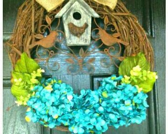 Country Home Decor Rustic Home Decor, Blue Hydrangea Spring Wreath, 3 Large Choose Your Own Color Flowers, Bird Decor, Bird House