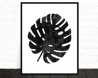 Monstera Leaf Print, Printable Art, Plant Print, Botanical Art Prints, Affiche Scandinave, Black and White Decor, Palm Art, Minimalist, Gift