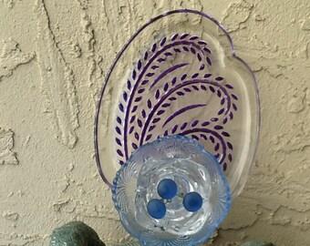 Glass garden art relish plate